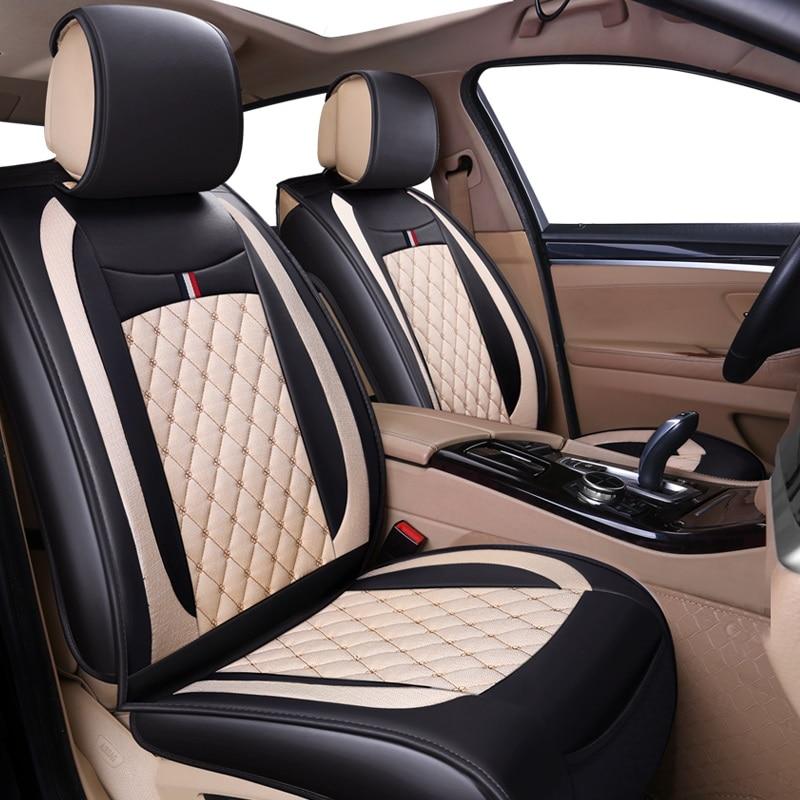 (Передняя + задняя) кожаные и льняные автомобильные чехлы для сидений Subaru forester Legacy для кухни, столовой XV BRZ 2017 2016 2015 протектор сиденья авто