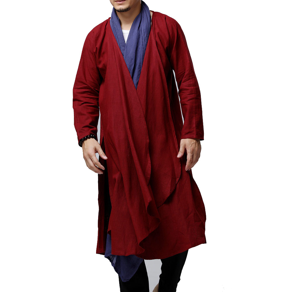 Men cotton linen   trench   coat male women solid color red black blue casual long cardigan jacket outerwear