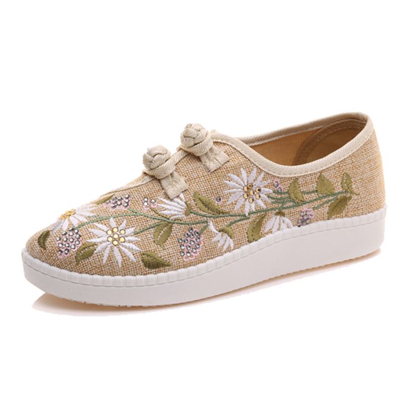 Image 2 - Veowalk Clearance Sale Flowers Embroidered Womens Linen Canvas Slip On Flat Shoes Dual Cotton Buttons Ladies Comfort Loaferslady comfortzapatos mujerflat shoes -