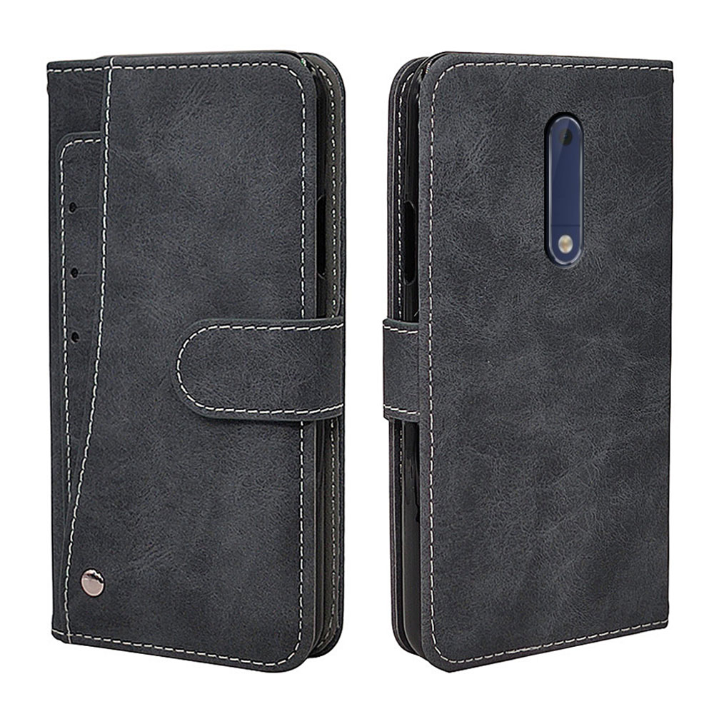 Luxury Wallet <font><b>Case</b></font> For <font><b>Nokia</b></font> 1 2 3 <font><b>5</b></font> 6 7 8 2017 Plus <font><b>Case</b></font> Vintage Flip Leather TPU Silicone Cover Business Card Slots image
