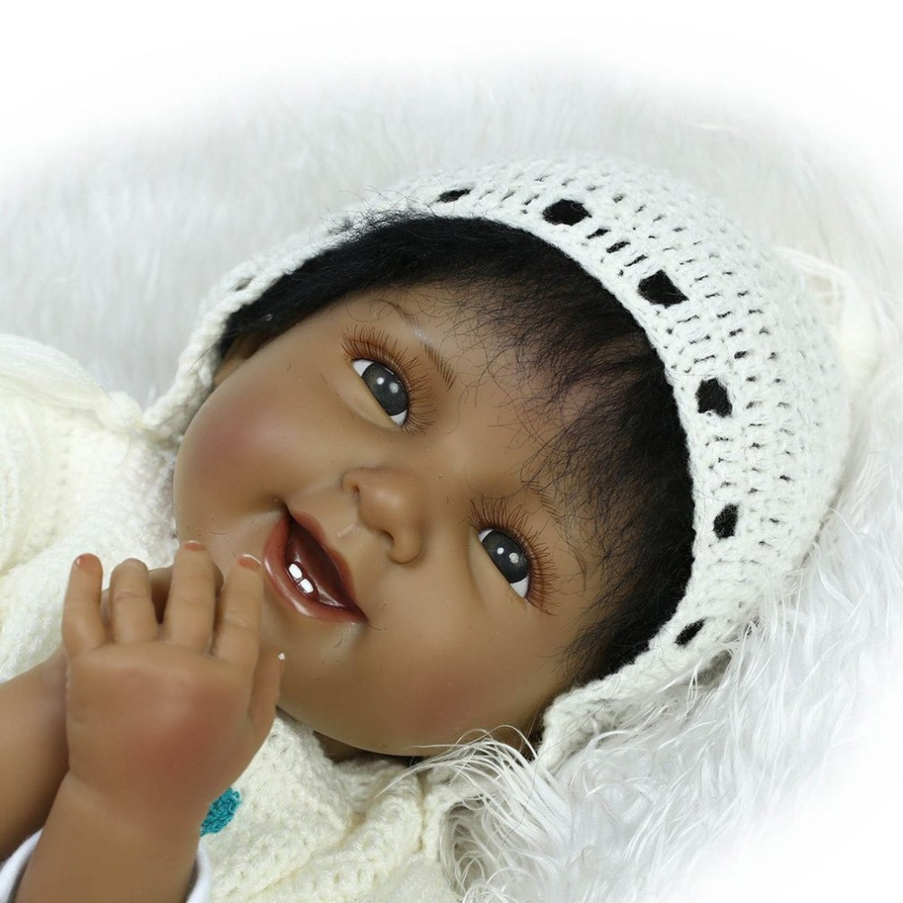 55CM Black Baby Girls Reborn Baby Doll Realistic Alive Silicone babydoll Play House Toys Birthday Gift Toys For Children Girls