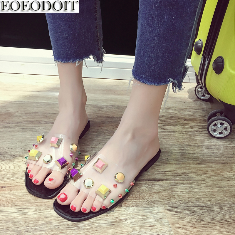 EOEODOIT Women Slippers Colorful Big Acrylic Rivet Flat Heel Shoes Summer Slides Casual  ...