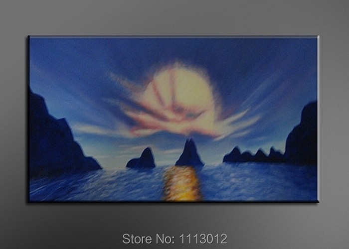 Hot Sale Abstract Hand Painted Blue Sun Sea Hill Oil Painting On Canvas Home Decoration Modern Wall Picture For Living Room Sale