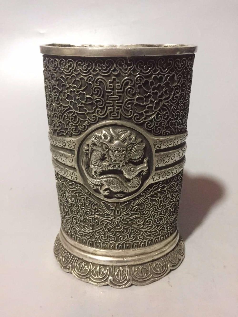 Décoration de bureau porte-stylo artisanat en métal, Collection Dragon chinois vieux pot de brosse en argent du marché antique