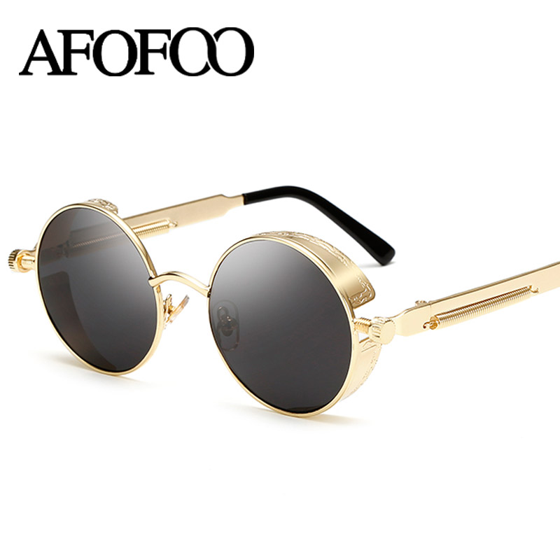 AFOFOO Gothic Steampunk Mens font b Sunglasses b font Vintage Metal Men Coating Mirror font b