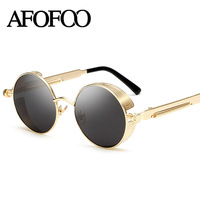 AFOFOO Gothic Steampunk Mens Sunglasses Vintage Metal Men Coating Mirror Sunglasses Male Round Sun Glasses Retro