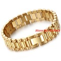 New Fashion 15mm Luxury Mens Womens Watch Band Bracelet in Gold Plated Stainless Steel Strap Cuff Bangles Jewelry Gift 8.66""