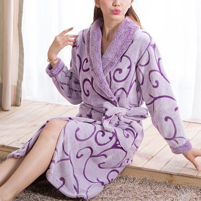 Autumn Winter Women Bathrobe Warm Nightgown Home Kimono Flannel Sleepwear Lounges Long Sleeve Bathrobes Pajamas Free Shipping