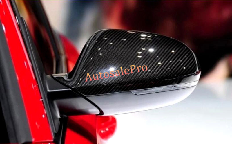For Audi A6 C7 2012 2013 2014 2015 2016 Carbon fiber SideDoor Rearview mirror cover trim 2pcs