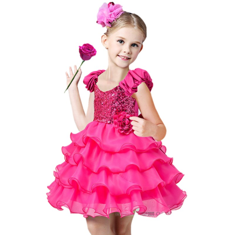 Christmas Girl Party Dress Sequin Princess Kids Dresses for Girls 2017 Summer Children Clothes Wedding Ball Gown Size 2-14 baby girls summer cotton princess top quality kids sleeveless dress children wedding party clothes girl christmas prom dress