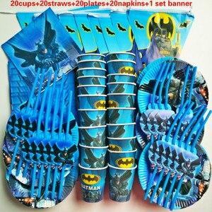 Image 2 - 81個20人ハッピーバースデー子供バットマンベビーシャワーパーティーの装飾セットバナーテーブルクロスストローカッププレートサプライヤー