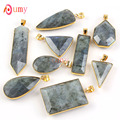 UMY Popular Gold Plated Section Multi Style Stone Pendant Labradorite Necklace Fashion Jewelry