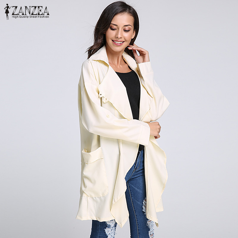 2018 Autumn ZANZEA Women Long Trench Plus Size Lapel Long Sleeve Casual Loose Chiffon Coat Pockets Solid Cardigan Female Outwear
