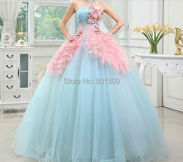 Blue and Pink Princess Ball Gown