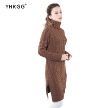 ФОТО YHKGG  Autumn Winter Women Turtleneck Sweaters And Pullovers  Solid Colors Thick Hemp Pattern Robe Pull Femme