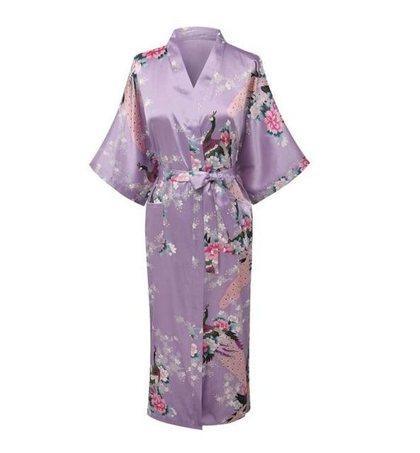 Light Purple Print Flower Women Robe Gown Chinese Traditional Bathrobe Sleepwear Novelty Kimono Dress S M L XL XXL XXXL A-111