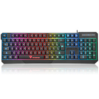 104 Keys Mechanical Feel Gaming Keyboard LED Colorful Backlit USB Wired Keyboard For Macbook Lenovo Asus Dell HP PC Computer
