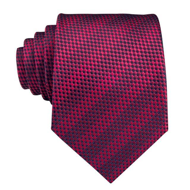 C-3122 Hi-Tie Luxury Silk Men Tie Striped Wine Red Necktie Handkerchief Cufflinks Set Fashion Men's Party Wedding Tie Set 8.5cm 3