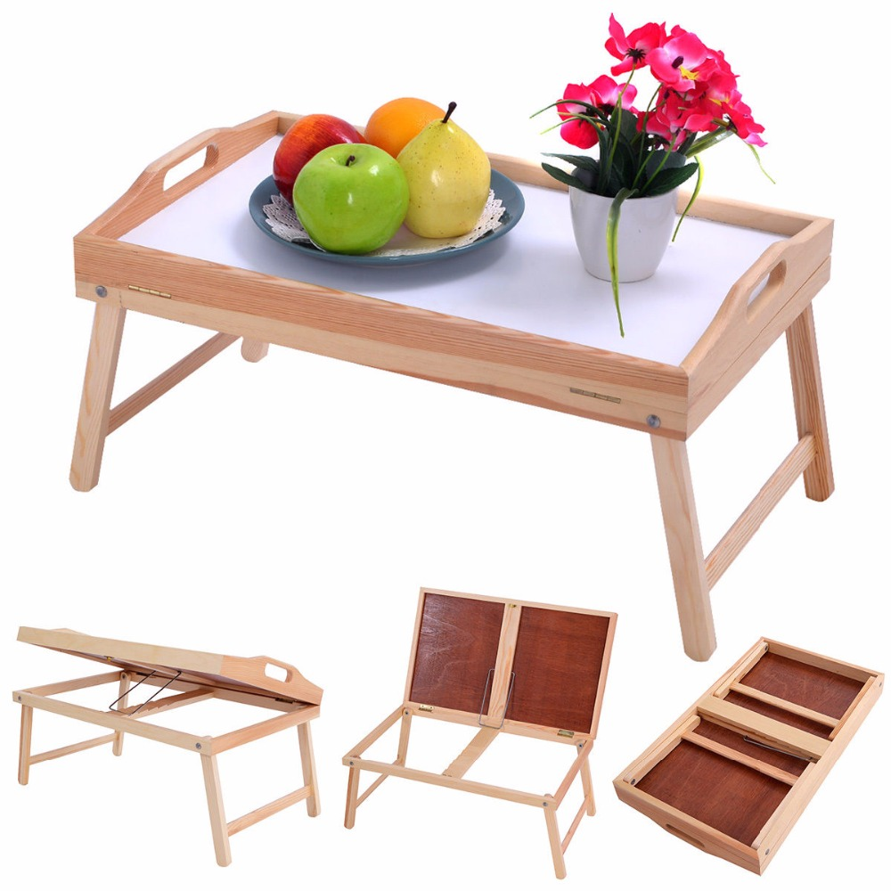 Goplus New Wood Bed Tray Modern Portable Breakfast Laptop Desk Food Serving Hospital Table Folding Legs Computer Desk HW52150