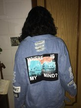 Denim Jacket Print Where Is My Mind retro washing frayed embroidery letter patch Appliques Streetwear Vintage Ripped Jeans coat