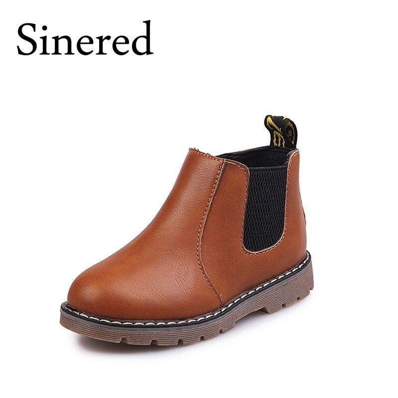 Sinered 2017 autumn winter new children's fashion boots boy girls non-slip boots British boots kids retro Martin boots