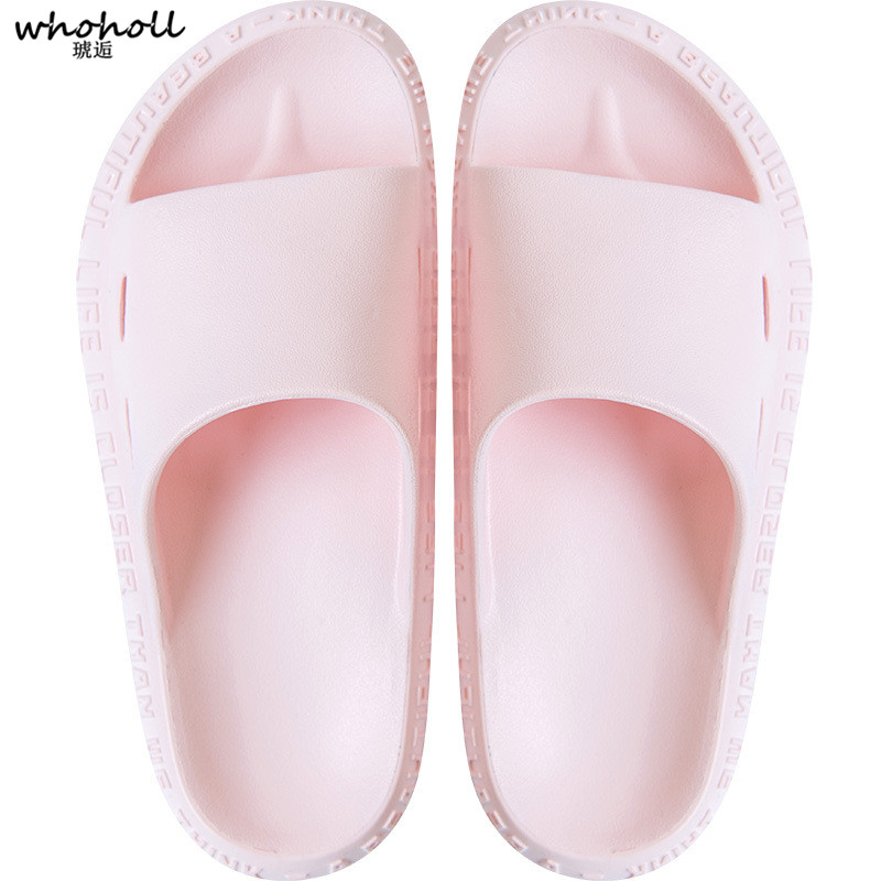 WHOHOLL Men Slippers Summer Flat 2019 Summer Women Sandals Shoes Breathable Beach Slippers Flip Flops Men Slides Lovers Slippers in Slippers from Shoes