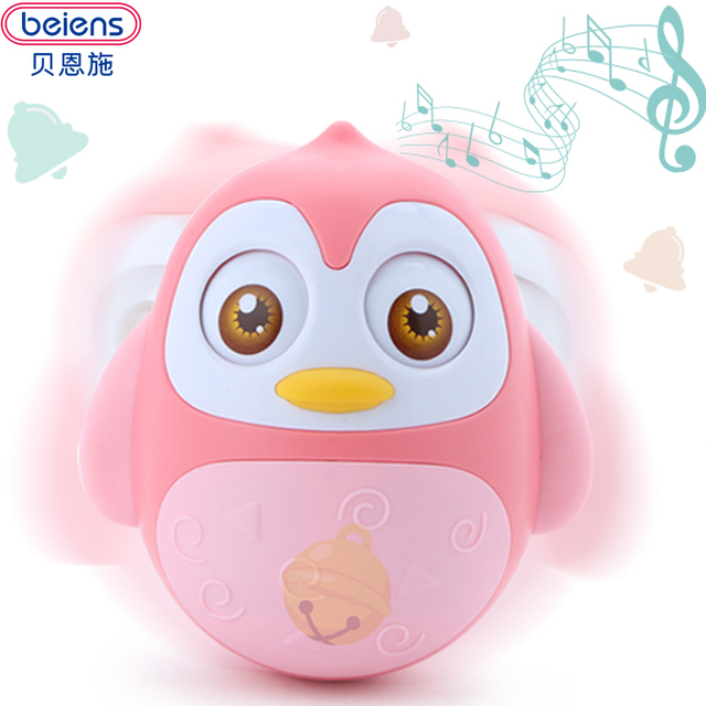 Beiens Baby Rattles Nodding Tumbler Doll Toy Educational Moving Eyes Owl with Bells Soft baby toys 0-12 months new arrival