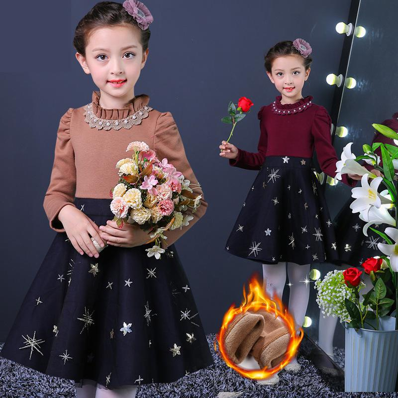 2017 New Autumn Girls Party Dress Wedding Birthday Girls Lace Dresses Tutu Style Princess Clothes For Children Sweater Dress 14