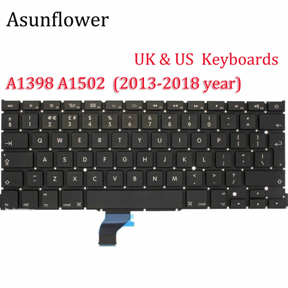Asunflower Laptop Keyboard For A1398 MacBook 13 15 Inch Pro With Retina A1502 Apple Keyboards 2013 2015