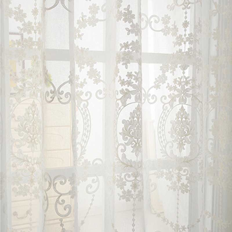 3d Embroidery Cotton Linen Fabric Pure White Tulle Curtain