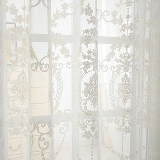 3D embroidery cotton linen fabric pure white Tulle Curtain sheer ...