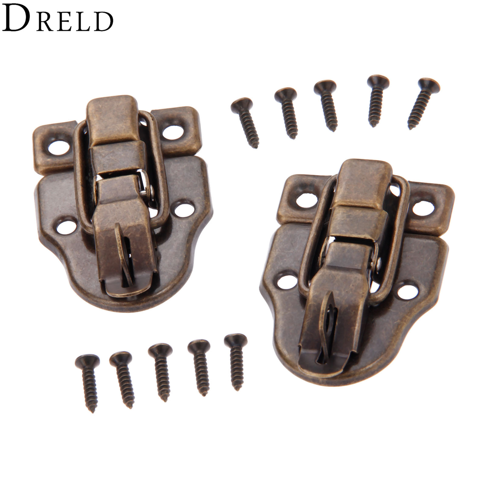 DRELD 2Pcs Antique Jewelry Wooden Box Latch Hasps Decorative Drawer Suitcases Hasp Latch Buckle Clasp Furniture Hardware 59x40mm