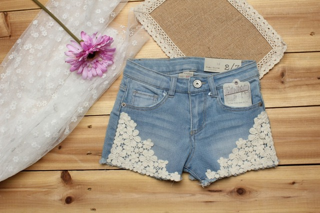 2018 summer baby girl shorts fashion girls lace Floral shorts jeans kids denim shorts Panties 2-12 Y baby wear 3