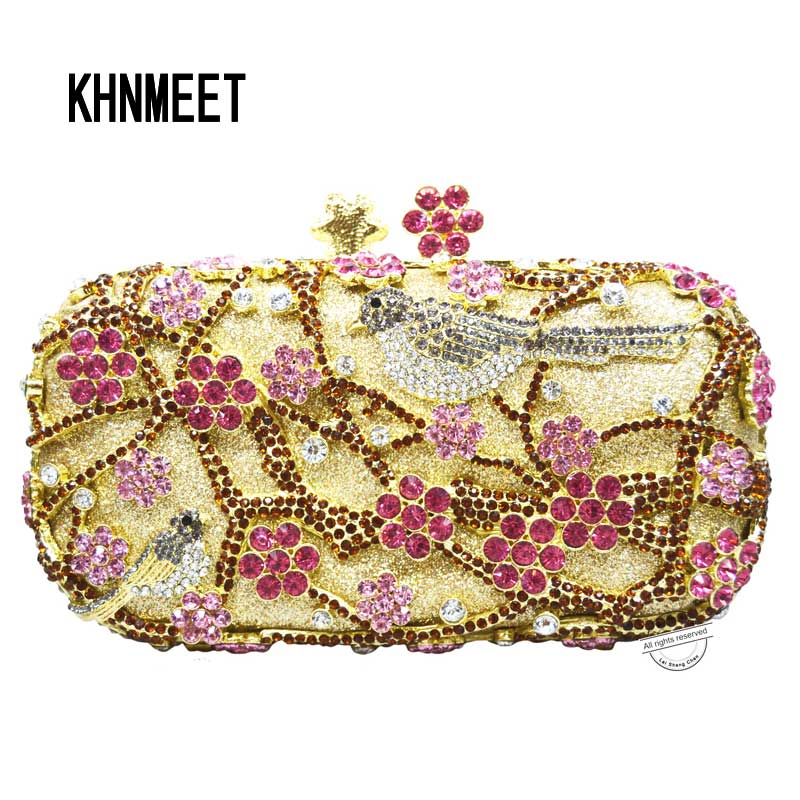 LaiSC wintersweet clutch bags chinese style plum blossom tree Birds crystal evening bags red wedding bride clutch purse SC216 00009 red gold bride wedding hair tiaras ancient chinese empress hair piece