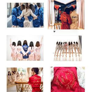 Image 5 - Халат кимоно Женский атласный, на заказ, с цветочным принтом