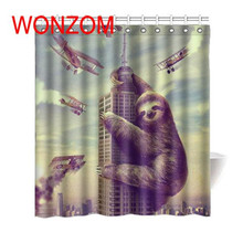 WONZOM Sloth Waterproof 3D Shower Curtain Animal Polyester Bathroom Decor Cat Decoration Cortina De Bano 2018 Bath Gift