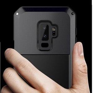Image 5 - Ağır güçlü darbeye dayanıklı su geçirmez Metal alaşım temperli cam Metal kapak cep telefonu kılıfı için Samsung S9 S9 artı S10