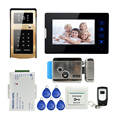 "FREE SHIPPING New 7"" Touch Key Screen Video Door Phone Intercom Kit IR Metal Outdoor RFID Keypad Doorbell Camera + Electric Lock"