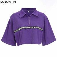 MONGIFI Women Loose Harajuku Cropped T Shirt Turn down Collar Print Letter Tees Shirt Patchwork Cotton Purple Casual Tshirts