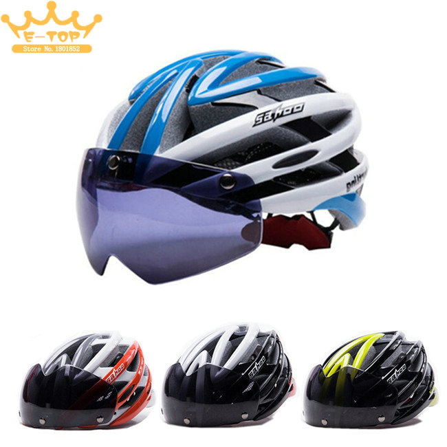 Cycling Helmet Magnetic Goggles Mountain Road Bike Bicycle Helmet Safety MTB Helmet + Polarized Sunglasses Lens 4 lens ski goggles airsoftsports cycling sunglasses polarized men sport road mtb mountain bike glasses eyewear
