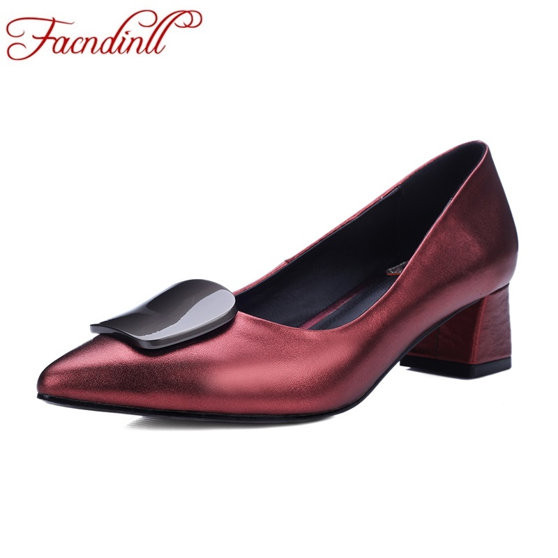 FACNDINLL handmade women pumps new fashion genuine leather med heel pointed toe shoes woman dress office shoes pumps size 34-43  shofoo newest women shoes med heels pointed toe pumps for woman dress