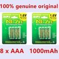 8 pçs/lote original novo bpi aaa 1000 mah 1.6 v 1.5 v ni-zn ni zn nizn aaa baixo auto-descarga da bateria recarregável 1.5 v