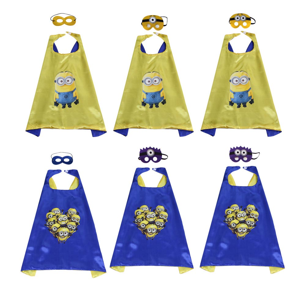 Christmas Party Dress Up Games: Cartoon Minions Mask Cape Costumes Set Kids Birthday Party