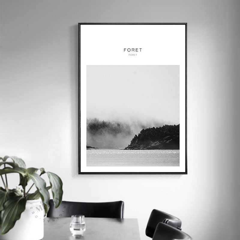 Haochu scandinavian decorative painting room modern murals for Black and white forest wall mural