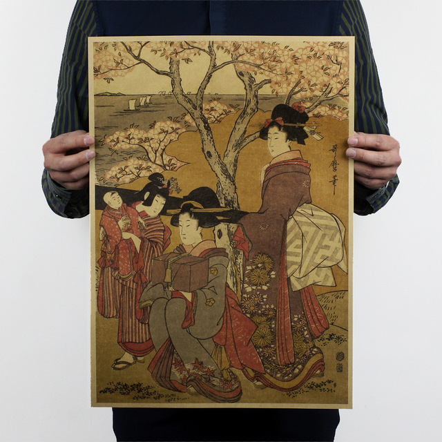 Vintage Style Paper Poster Retro Wall Stickers Japanese Ukiyo-e Home Pp-02
