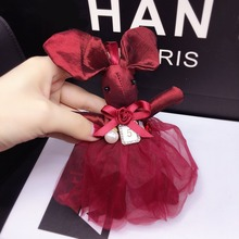 New Fashion Cute Cloth Lace Rabbit Keychain Bow Tie Net Yarn Key Rings Women Shoulder Bags Charm Pendant Car Holder