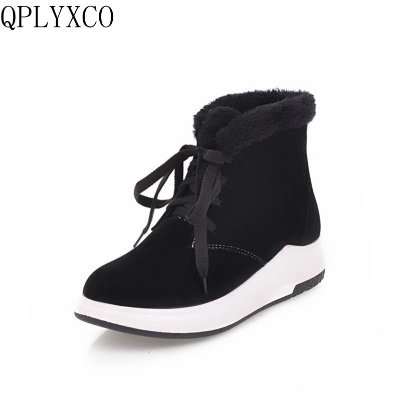 QPLYXCO New Warm snow Boots Big size 34-43 shoes woman ankle boot short Fashion Plush Winter Lace up Casual women shoes L192