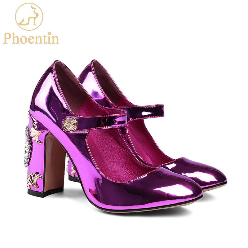 Phoentin 로즈 레드 메리 제인 펌프 크리스탈 시계와 - 여성 신발
