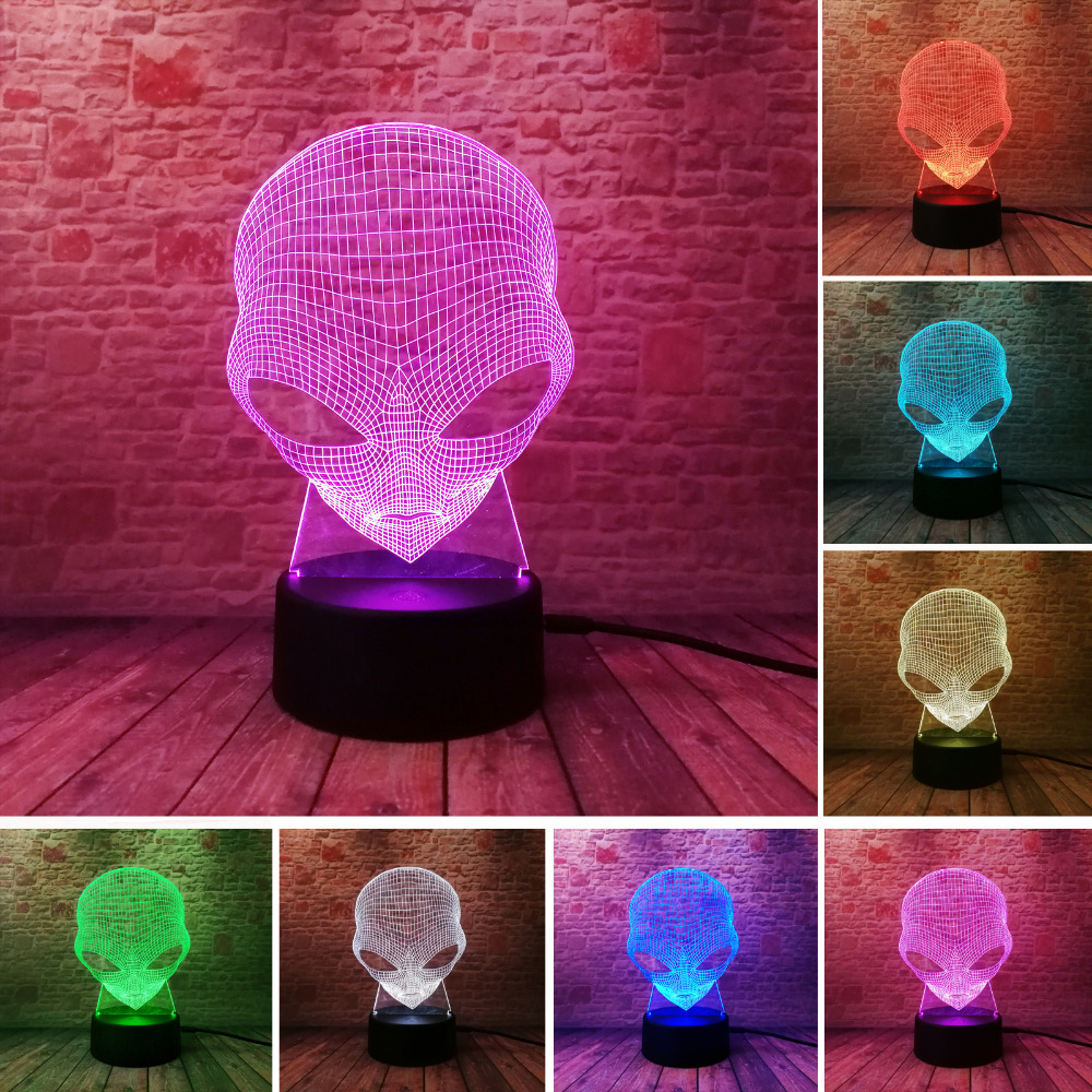 Unique 3D Cartoon Alien Shape Design LED 7 Color Change Table Lamp Home Cafe Bar Decor Child Family Friend New Year Happy Gifts