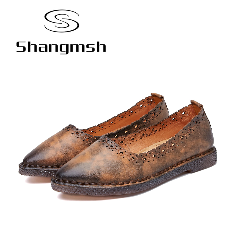 Shangmsh Genuine Leather Shoes Pointed Toe Flats 2017 Fashion Female Casual Loafers Driving Shoe Ladies Moccasins Shoes Women yiqitazer 2017 new summer slipony lofer womens shoes flats nice ladies dress pointed toe narrow casual shoes women loafers